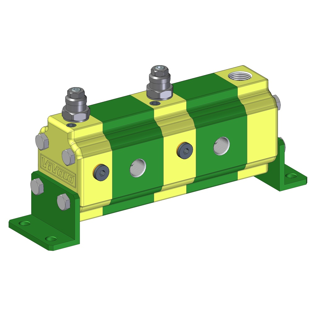 Hydraulic Gear Flow Divider - Gr. 1 / 0.91 – 9.88 cm3/rev -RV-1V – FLOW DIVIDERS WITH INDEPENDENT PHASE CORRECTION AND ANTICAVITATION VALVES FOR EACH ELEMENT