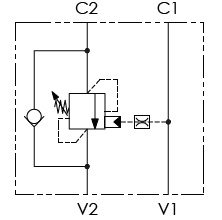 Hydraulic scheme - Single Counterbalance valves for open center - Bolt-Fitting