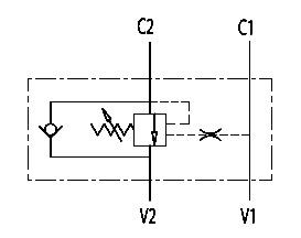Hydraulic scheme - Single Counterbalance valves for open center