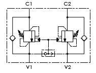 Hydraulic scheme - Double Counterbalance valves for open center