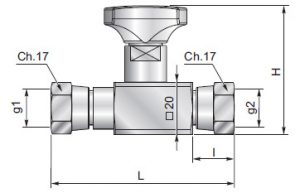ES18G - Anti-shock valve double swivel straight connection