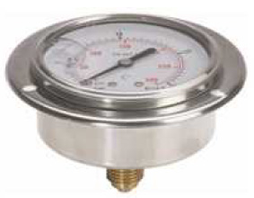 """Hydraulic Pressure Gauge D100 rear connection with flange with glycerin (1/2"""""""" BSP)"""