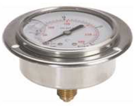 """Hydraulic Pressure Gauge D63 rear connection with flange with glycerin (1/4"""" BSP)"""