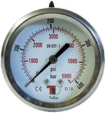 """Hydraulic Pressure Gauge D63 rear connection without flange with glycerin (1/4"""""""" BSP)"""