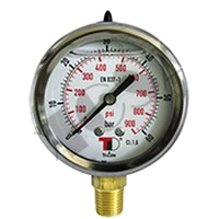 """Hydraulic Pressure Gauge D63 vertical connection with glycerin (1/4"""" BSP)"""