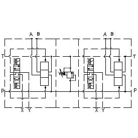 EM207/Z - Parallel connection with Ports A-B on Side 1, P – 1, T – 1 1/4, with/without pressure relief valve (RV)
