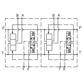 EM208/Y - Parallel connection with Ports A-B on Side 1 1/4, P – 1 1/4, T – 1 1/2, without pressure relief valve (RV)